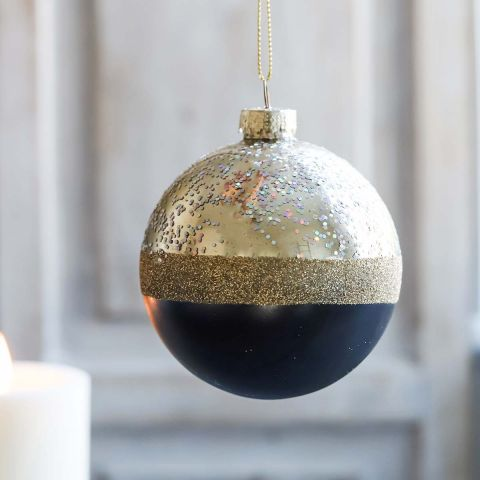 TWO TONE BLACK BAUBLE
