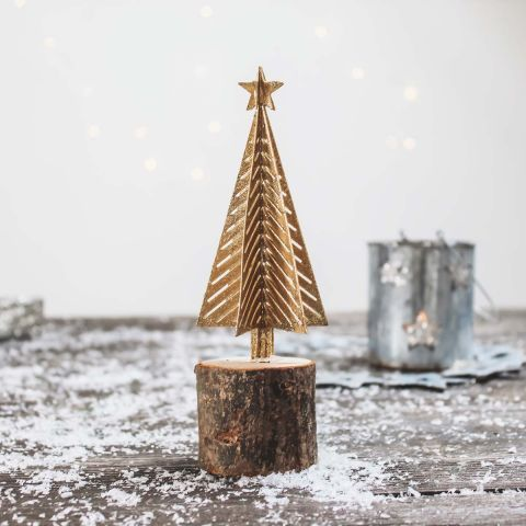 METAL TREE WITH WOODEN BASE