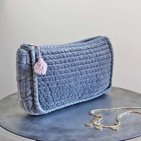 CHARCOAL QUILTED VELVET BAG