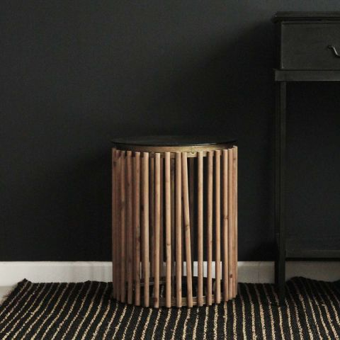 CLAUDE WOODEN SLAT OCCASIONAL TABLE