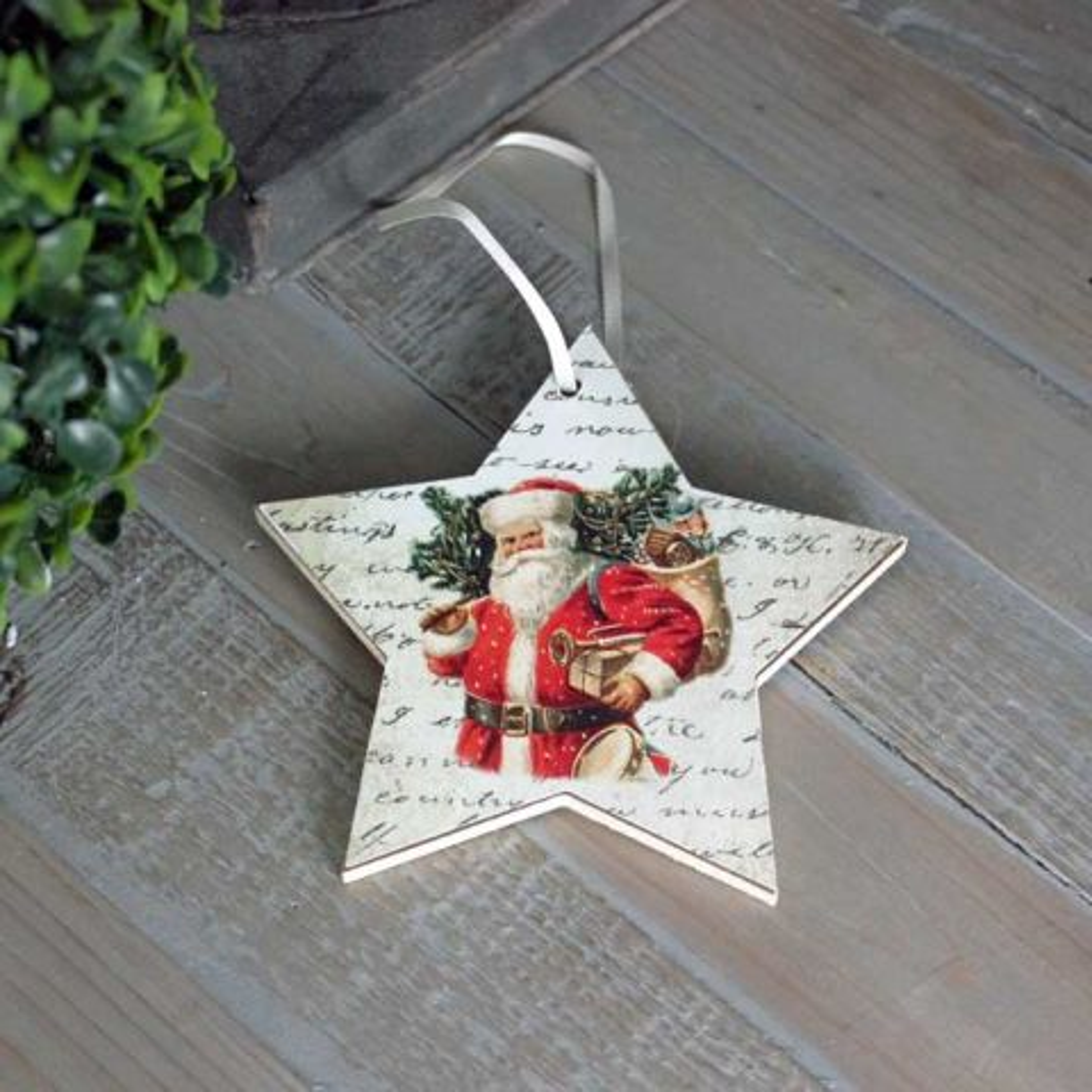 Wooden Santa Star Decoration