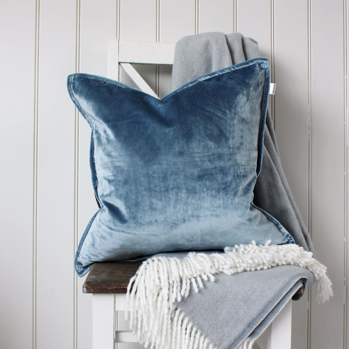 Velvet Cushion Ice Blue